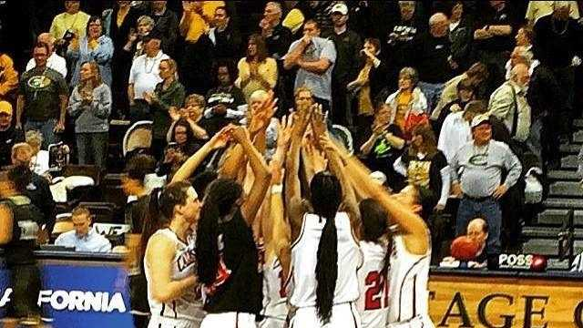 The California U. women's basketball team advances to the NCAA Division II national championship game.