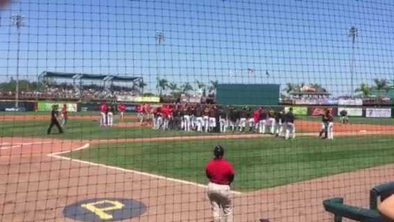 The benches cleared but no punches were thrown during a Pirates-Phillies spring training game in Bradenton.