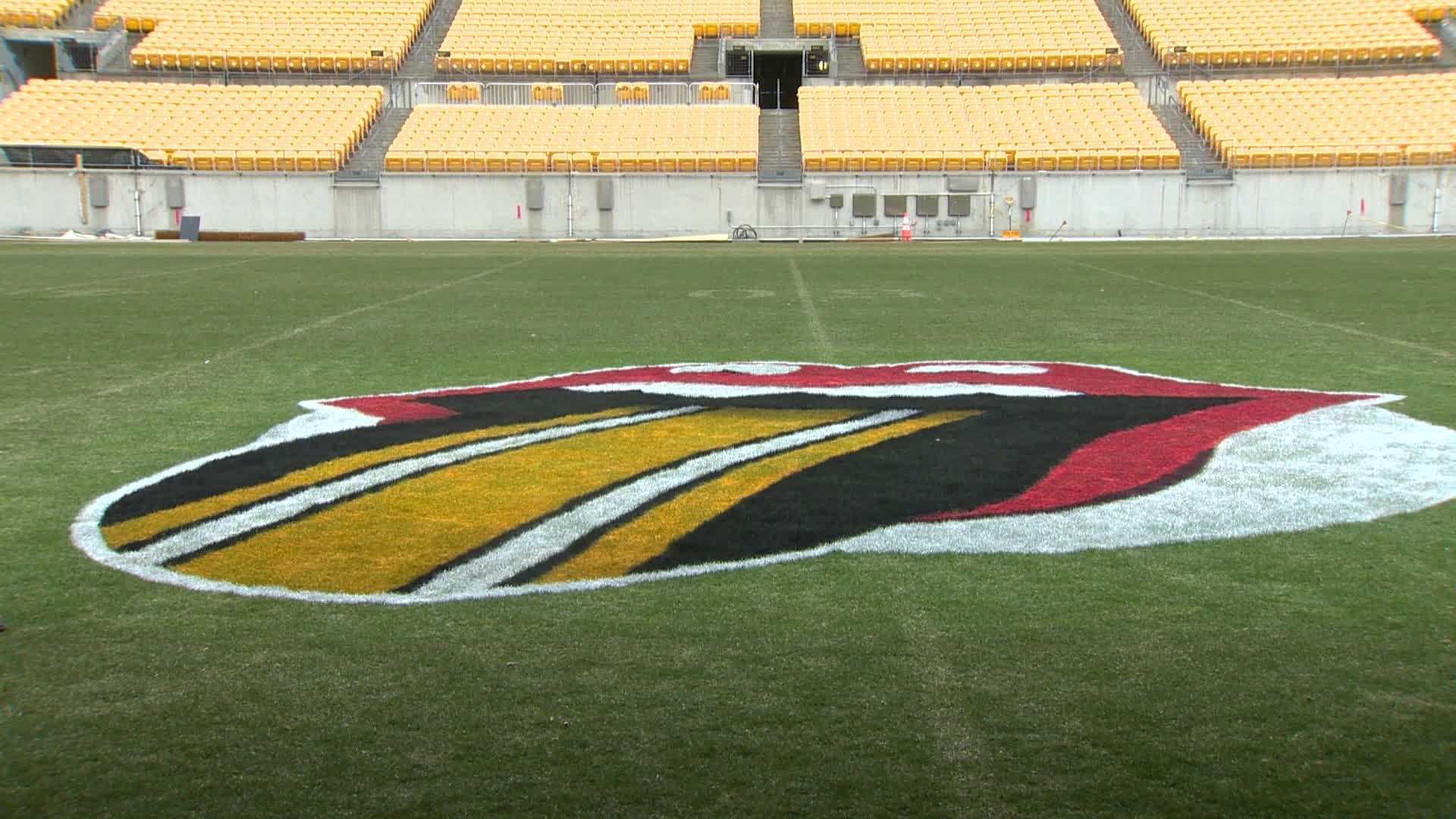 The iconic Rolling Stones logo was painted on the grass at Heinz Field Tuesday morning.