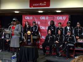 .@CalUofPA honored @CalUofPAWBB national champions inside convocation center @WTAE