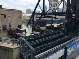 """The Pirates Deck used for """"Pub Nights' and """"Paint Monkey Nights"""" have been revamped with porch style seating."""