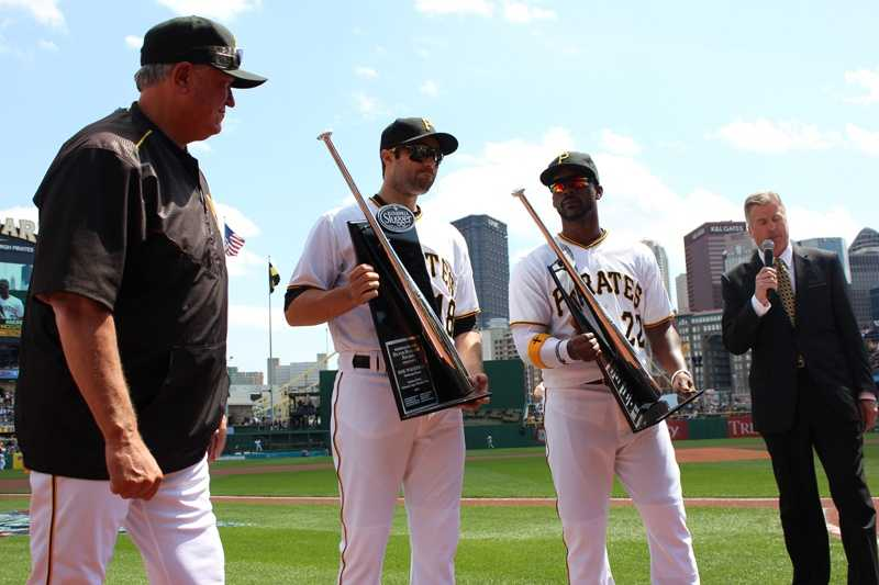 Neil Walker and Andrew McCutchen receive their 2014 Silver Slugger awards.