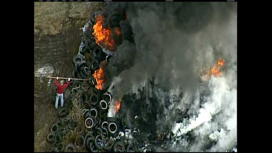 Sky 4 flew over a fire that produced thick, black smoke on Allied Lane in Derry Township, Westmoreland County.
