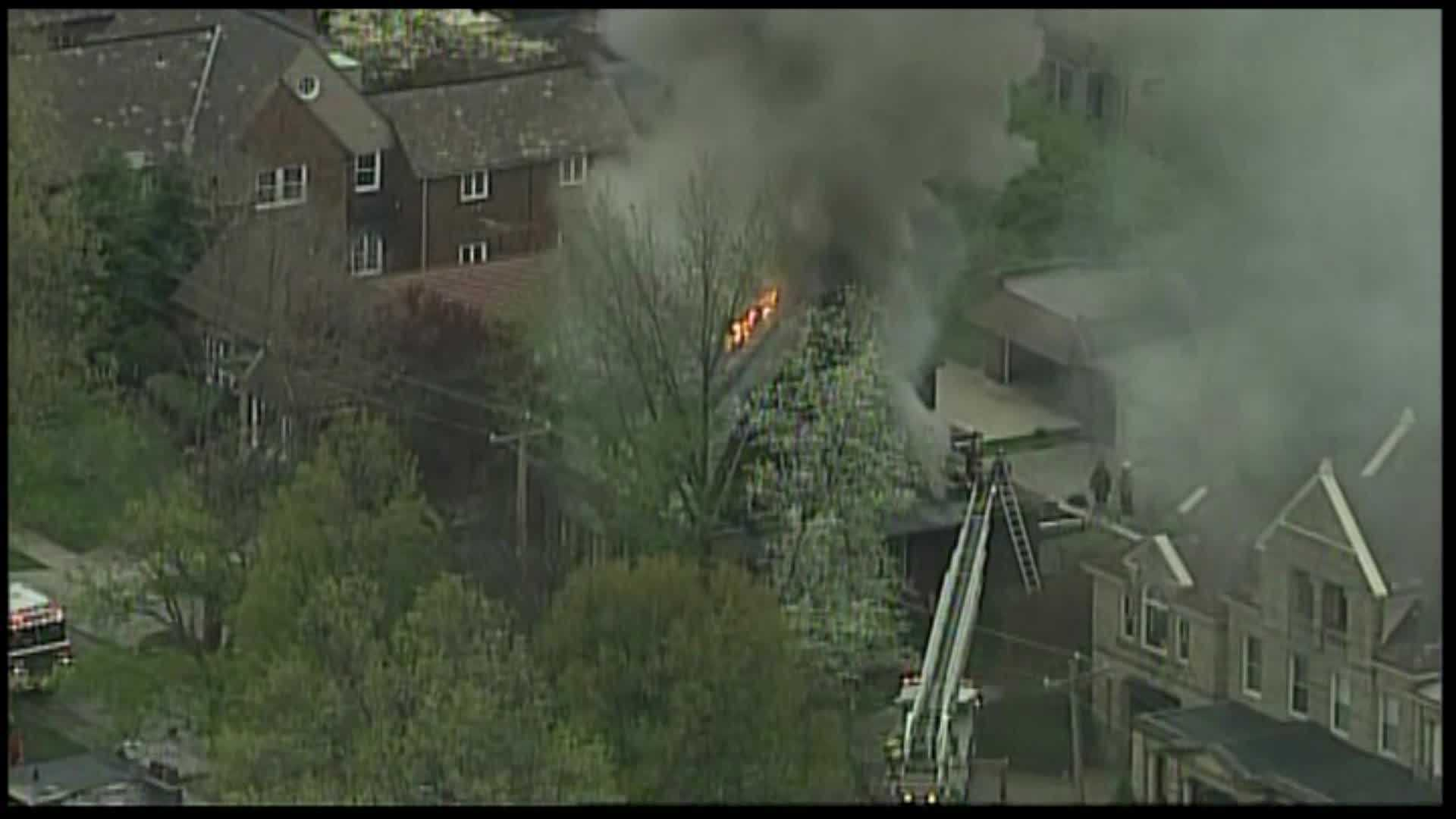 Pittsburgh firefighters battled a three-alarm blaze Thursday at a house on Devonshire Street.