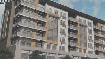 An artist's rendering of the Flats on Fifth apartment building.