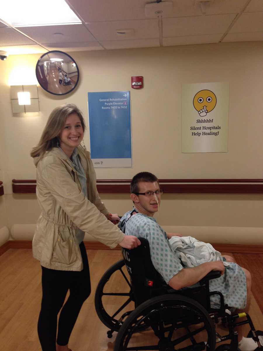 LOCATION BLESSINGS:  Sean with his girlfriend, Alexa Kriley, wheeling Sean at UPMC Mercy. Alexa is a 5th year Pharmacy student right next door at Duquesne University.