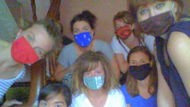 Megan McCandless (foreground, far right) was in Nepal when the earthquake hit.