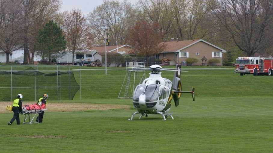 A student was flown to a hospital by a helicopter after an accident at Blackhawk High School.