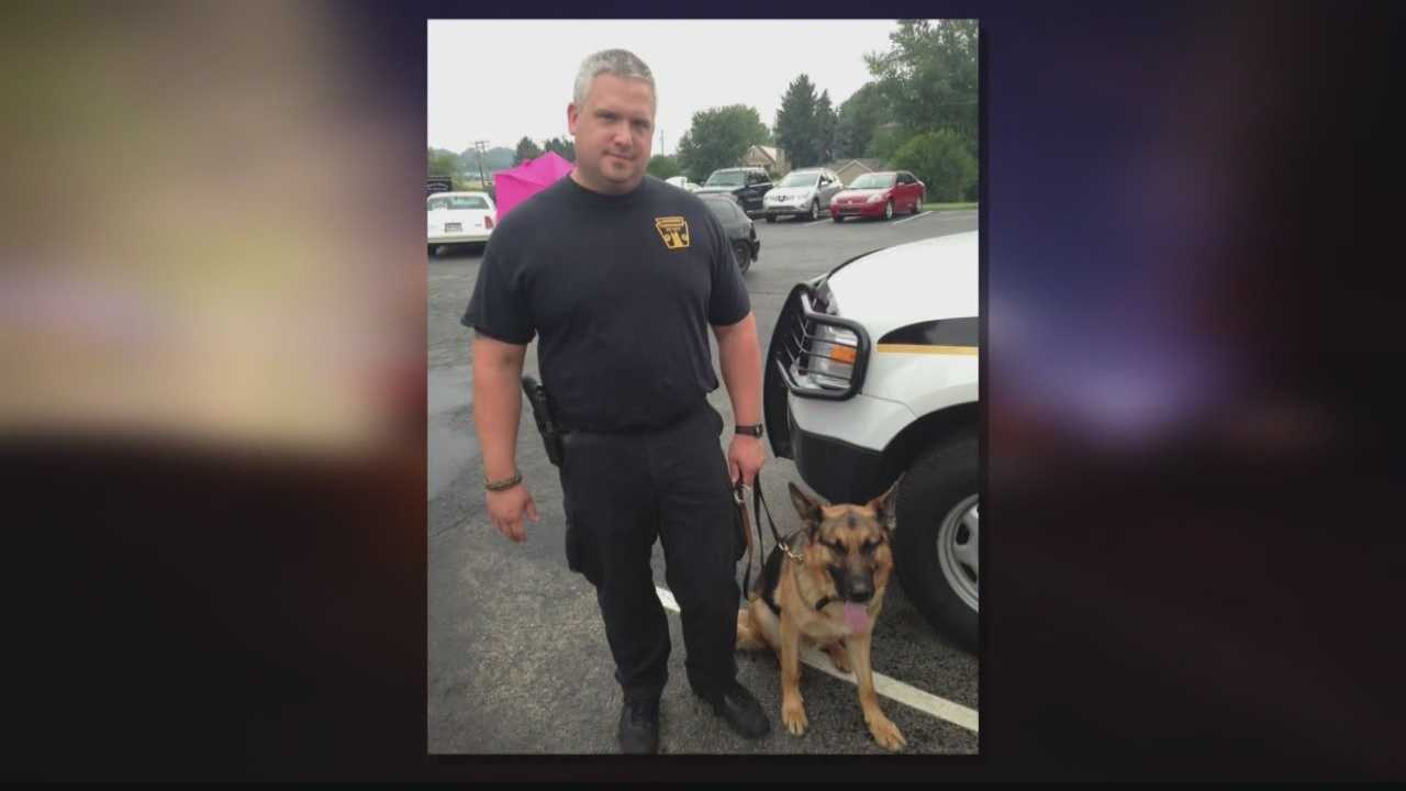Ligonier Township police Lt. Eric Eslary with K-9 Blek.