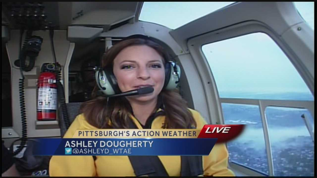 Pittsburgh's Action Weather meteorologist Ashley Dougherty flies with Sky 4.