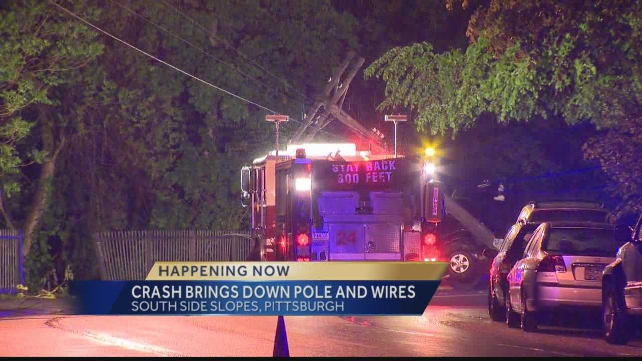 Pittsburgh's Action News 4's Jackie Cain reports from Pittsburgh's South Side Slope where a crash has resulted in emergency crews dealing with power lines down