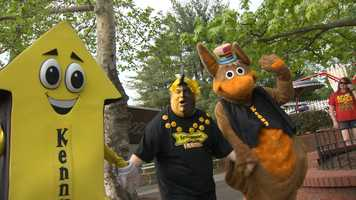 Kennywood mascots: Parker the Arrow Mr. Fanatic and Kenny Kangaroo.