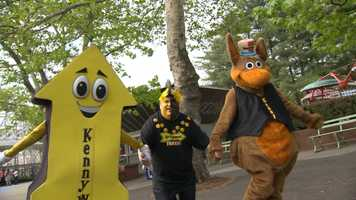 Parker The Arrow, Mr. Fanatic and Kenny Kangaroo are the mascots at Kennywood Park.