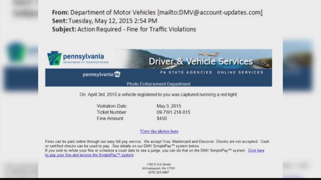 An example of a scam email that looks like it was sent by PennDOT.
