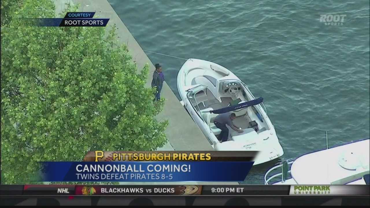 A bystander climbed into a stranger's boat to retrieve a home run ball that was hit out of PNC Park by Pedro Alvarez.