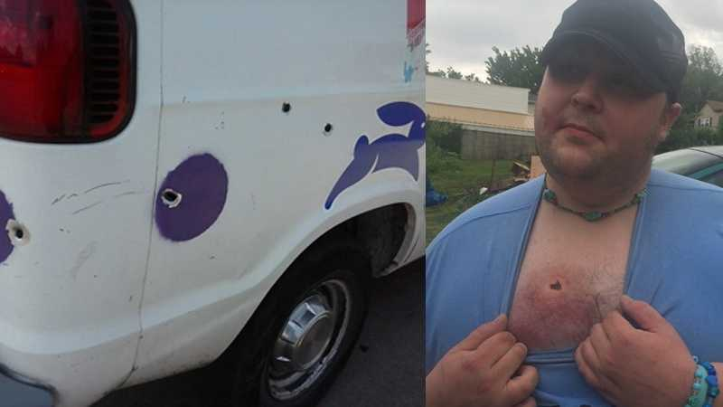 A man was wounded when a woman tried to rob him and fired her gun into his ice cream truck in Uniontown.