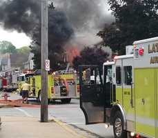 Firefighters battled an morning fire on Main Street in Latrobe on Wednesday.
