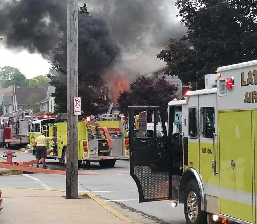 Firefighters battled an morning fire on Main Street in Latrobe on Wednesday.