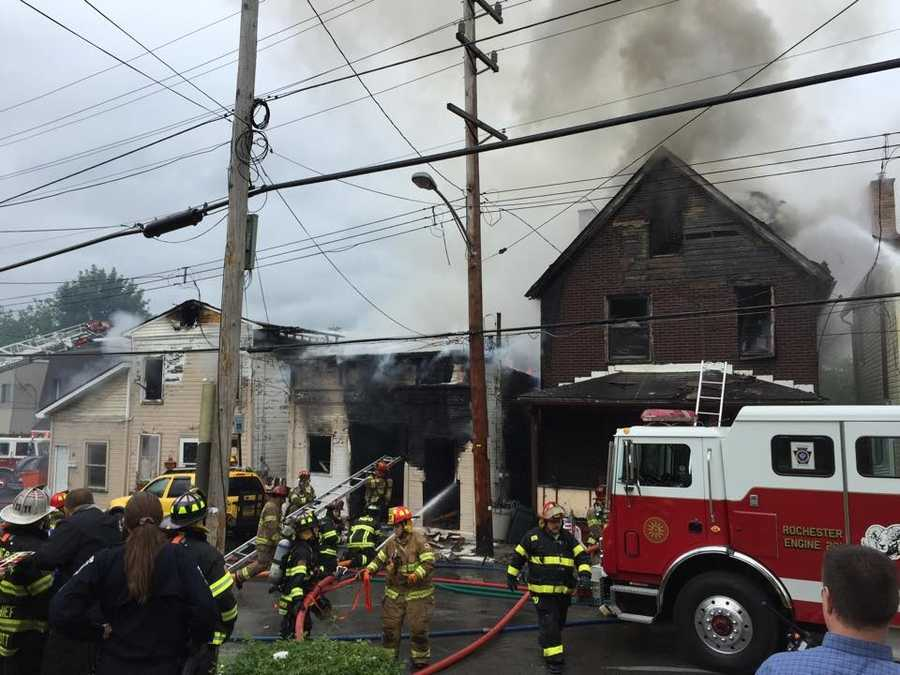 Firefighters in Rochester battled a fire that has spread to four buildings along Case Street in Beaver County on Tuesday morning, Pittsburgh's Action News 4's Katelyn Sykes sent back these photos from the scene.