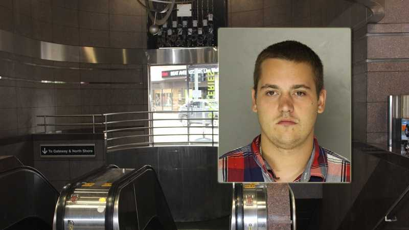Police said Ryan Kyle (pictured) threw Kevin Lockett onto the tracks and beat him inside the Wood Street T station.