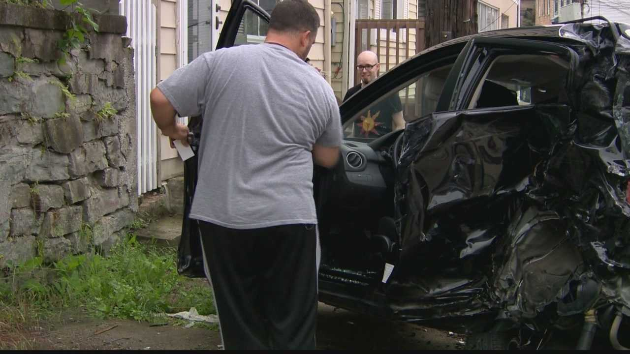 At least 12 cars were struck by a Pittsburgh Water and Sewer Authority truck in the South Side Slopes late Monday afternoon, according to police and the PWSA.