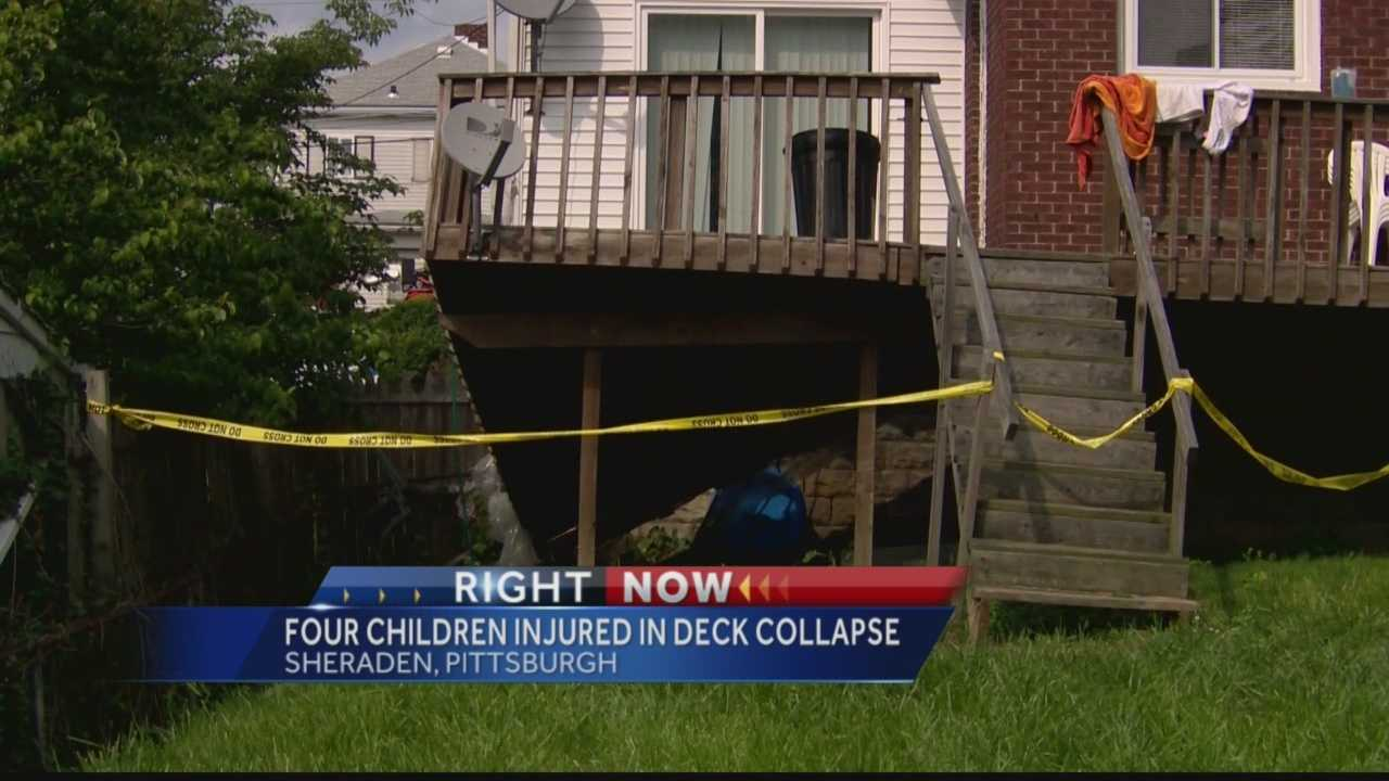 Police say a woman, two children and one toddler were taken to the hospital Saturday afternoon after the deck they were standing on collapsed.