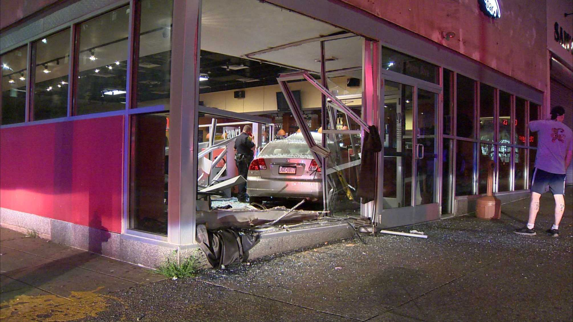 A car crashed into Capri Pizzeria & Bar on Penn Avenue in East Liberty.