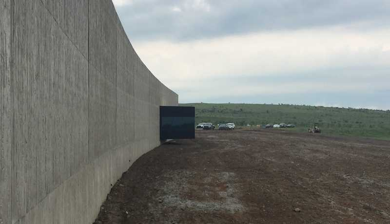 A photo taken from the viewing room inside the visitor's center at the Flight 93 National Memorial.