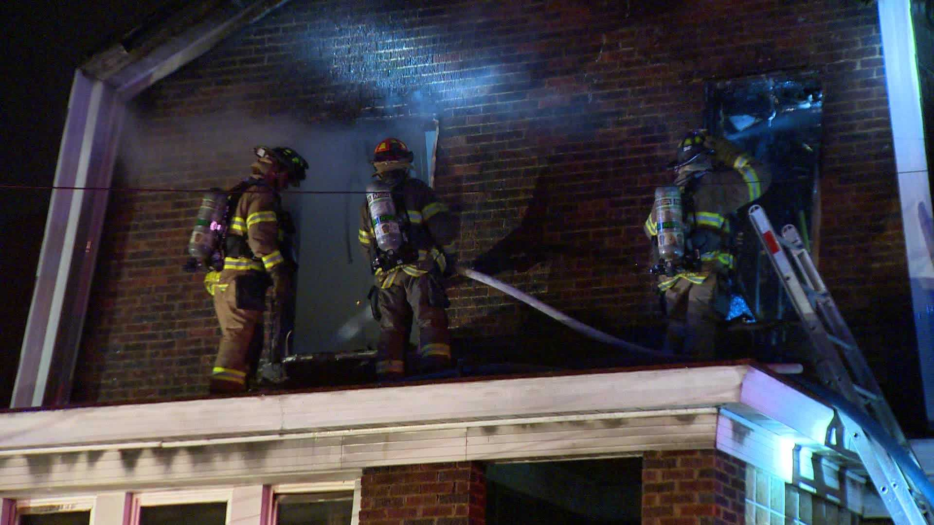 A fire damaged a brick structure in Carrick Saturday morning.