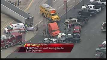 Pittsburgh's Action News' Sky 4 over a multi-vehicle accident on Route 22 in Delmont, Westmoreland County, where a tractor trailer is involved. The road was shutdown for a considerable amount of time during Tuesday's morning drive.