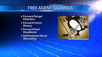 The Penguins also signed Russian forward Sergei Plotnikov to a one-year entry-level contract&#x3B; forward Conor Sheary to a two-year entry-level contract&#x3B; forward Kael Mouillierat to a one-year, two-way contract&#x3B; and defenseman David Warsofsky to a one-year, two-way contract.
