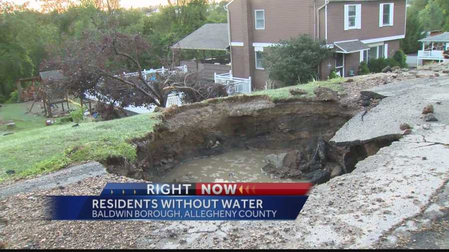 Crews are working to restore water and repair property damages for residents in Baldwin Borough after a water main burst on Wednesday morning.