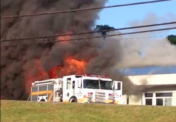 ASI in Uniontown parcel section caught on fire around 7:30 this morning