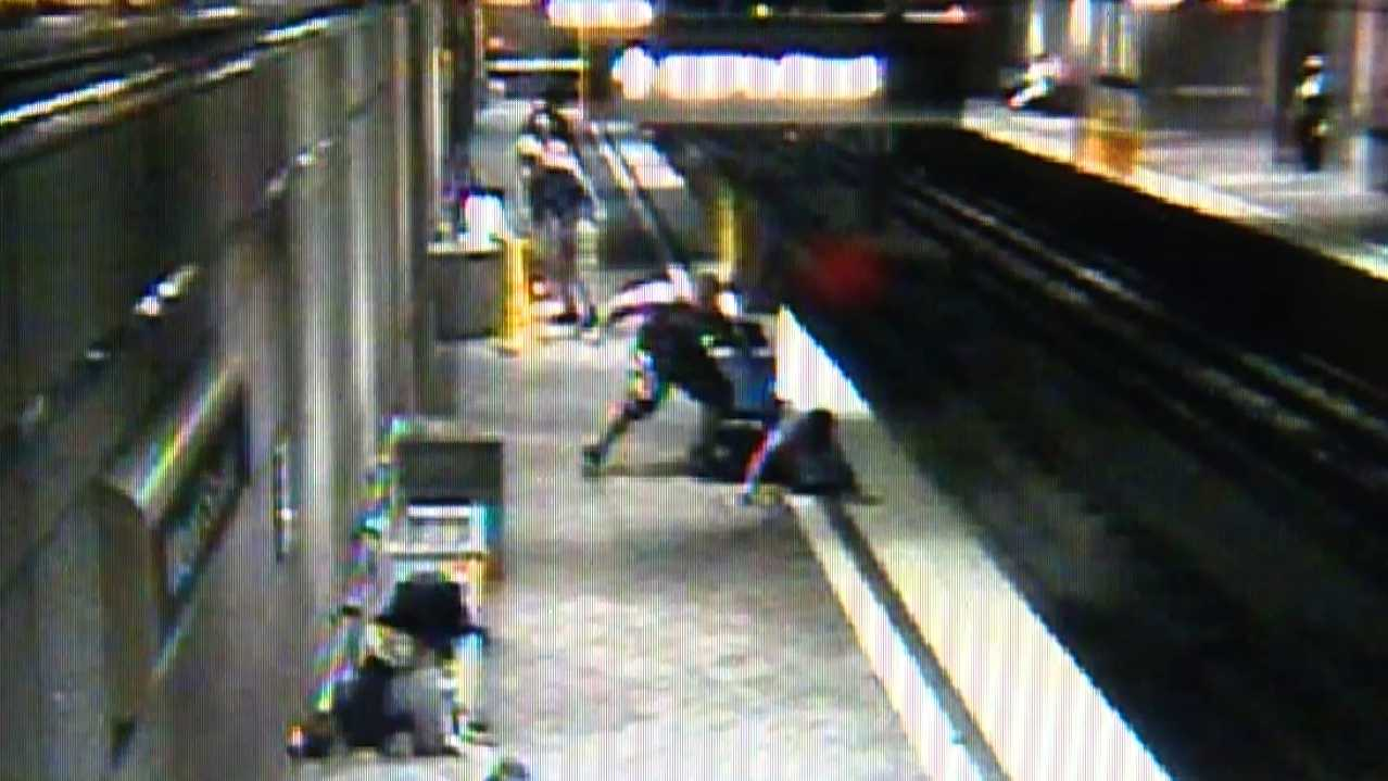 Surveillance image of Kevin Lockett being attacked in the Wood Street T station in downtown Pittsburgh