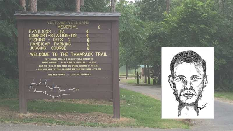 Police say a man (pictured in sketch, right) assaulted a woman walking on a trail at the park.