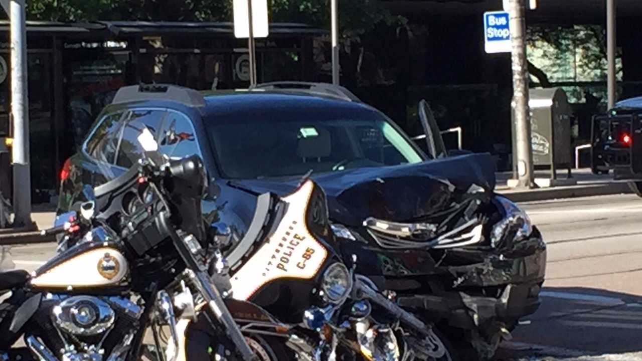 A Pittsburgh Police motorcycle officer was involved in an accident in Oakland Saturday morning.