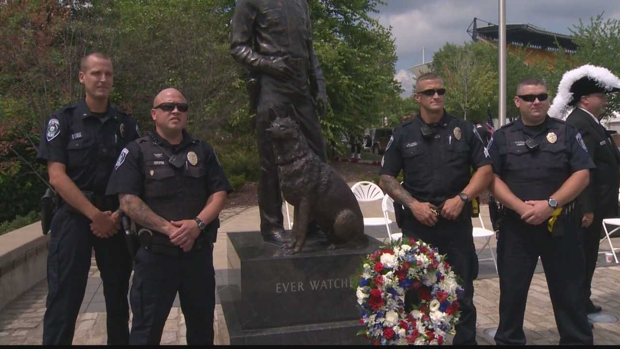 The idea for the statue come in the aftermath of the death of Rocco, a K9 who was stabbed and killed in January 2014 while working with his partner, Officer Phil Lerza.