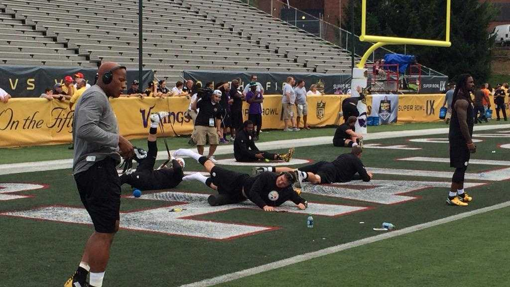 The Pittsburgh Steelers warming up on the field prior to Sunday's preseason opener in Canton, Ohio.
