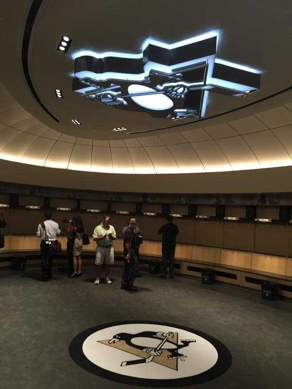 The Penguins' locker room at the new facility is an exact replica of the locker room at Consol Energy Center.