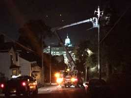 Large tree comes down, causing power outage in Greensburg
