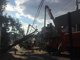 Crews out making repairs after tree comes down in Greensburg