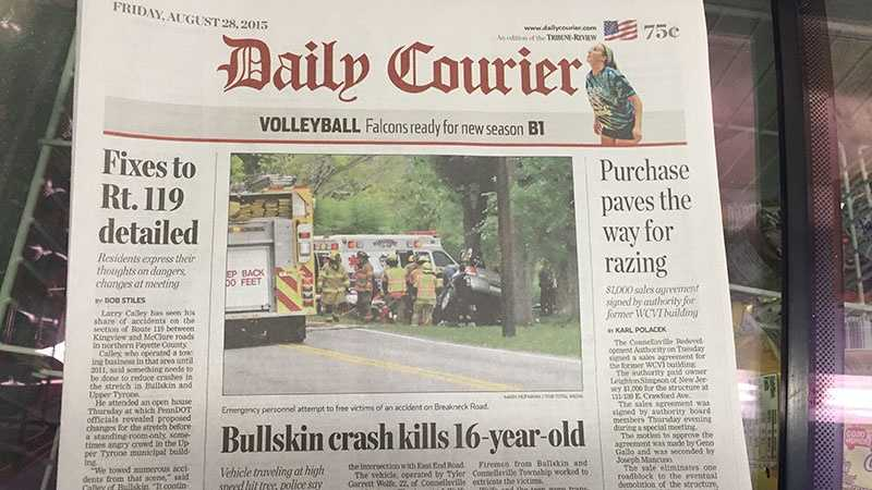 The Daily Courier newspaper in Connellsville covers Fayette County news.