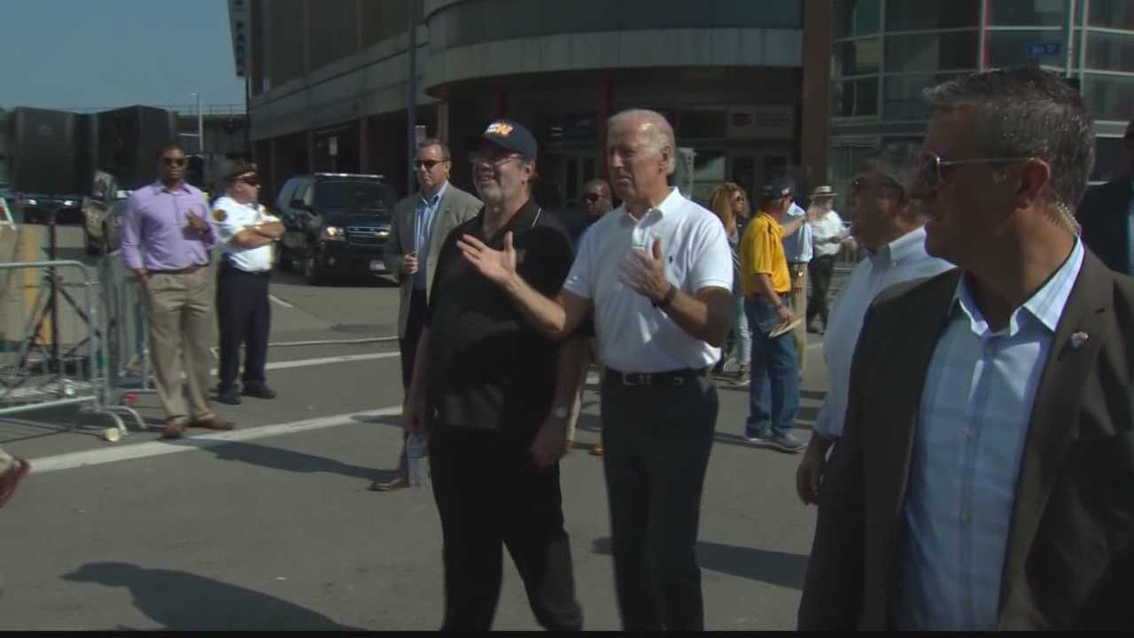 Vice President Joe Biden marches in the Pittsburgh Labor Day Parade.