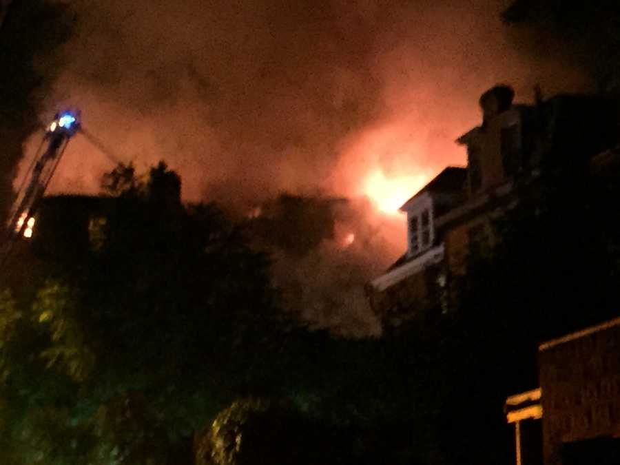 Huge fire tears through home in Pittsburgh's Garfield neighborhood.