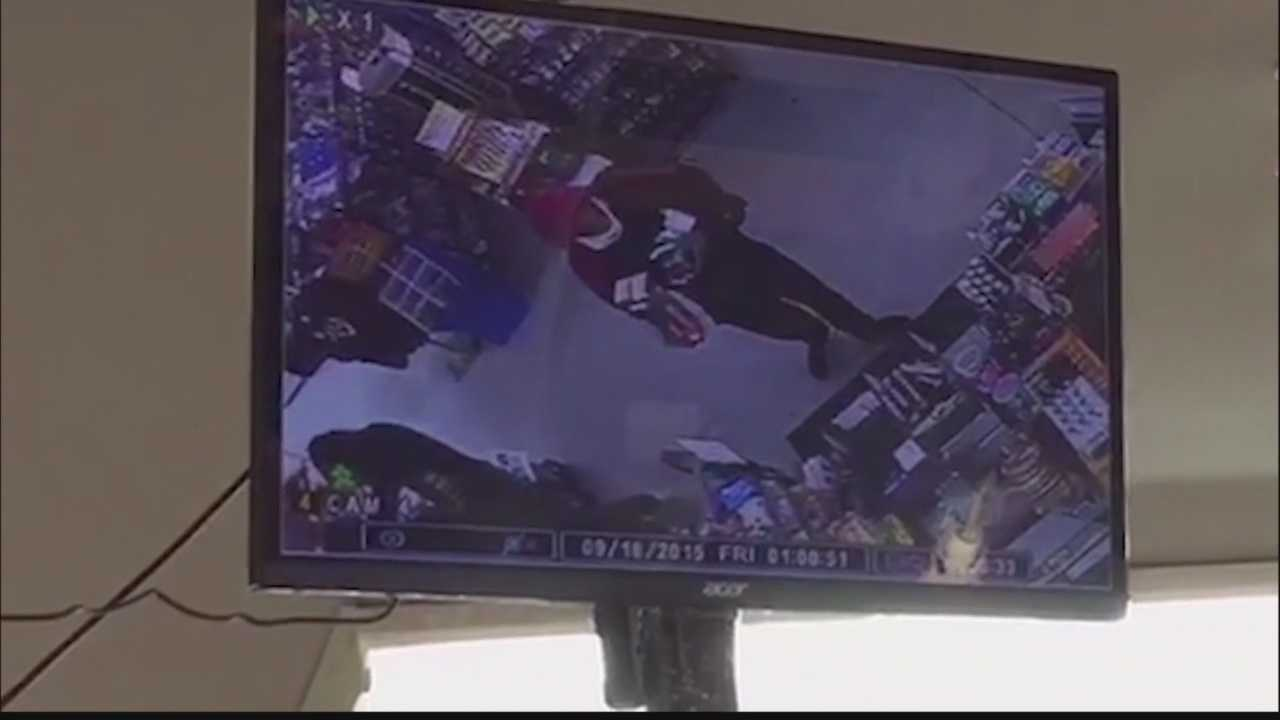 A surveillance video image from the Uni-Mart robbery.