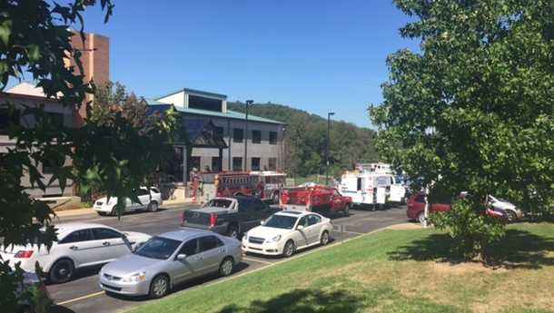 Emergency crews and HAZMAT Team outside of the Albert Gallatin North Middle School