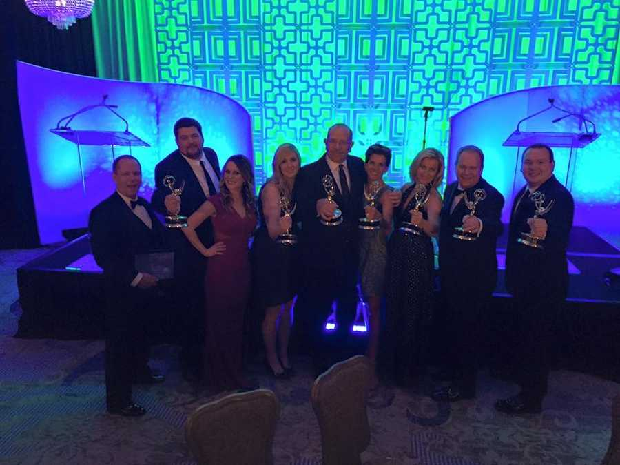 (left to right) Michael Lazorko (editor), Brian Caldwell (photographer), Jamie E. Bittner (Executive Producer), Mary Davies (Producer), Jim Parsons (Assistant News Director), Wendy Bell (Anchor), Shannon Perinne (Anchor), Justin Antionitti (News Director), and Alex Marcelewski (Digital Executive Producer) with some of our Emmy's from the night!