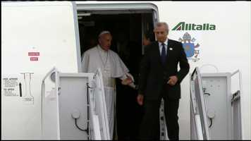 Pope Francis before walking off his plane at Andrews Air Force Base