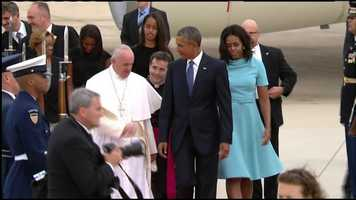 Pres. Barack Obama and First Lady Michelle Obama traveled to Andres Air Force Base outside Washington, D.C. to greet Pope Francis.