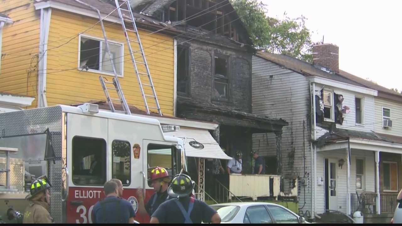 Crews battled a blaze involving multiple structures in Elliott on Saturday.